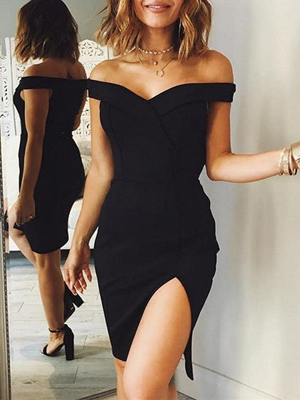 Black Off Shoulder Folded Split Dress