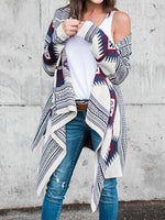Gray Folk Print Asymmetric Detail Long Sleeve Chic Women Cardigan