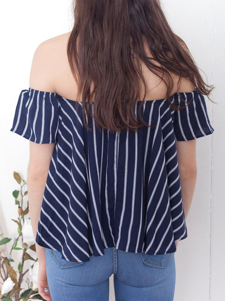 286504b1345f8 Navy Stripe Off Shoulder Blouse Top – chiclookcloset