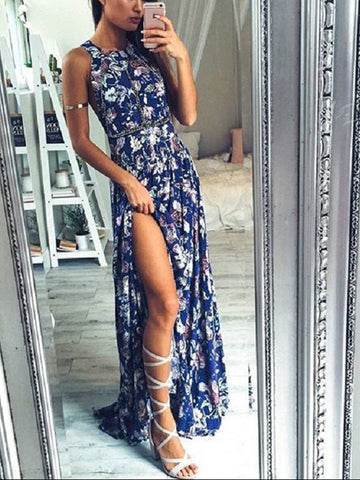 Polychrome Floral Halter Open Back Split Front Maxi Dress
