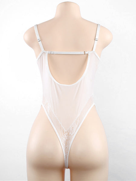 White Sweetheart Neck Lunge Spaghetti Strap Floral Lace Bodysuit