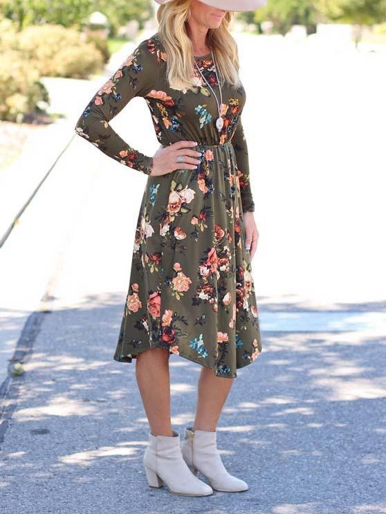 Army Green Floral Long Sleeve Midi Dress