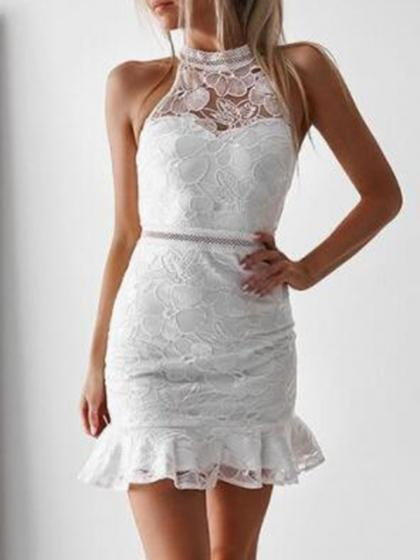 White Ruffle Hem Sleeveless Lace Bodycon Mini Dress