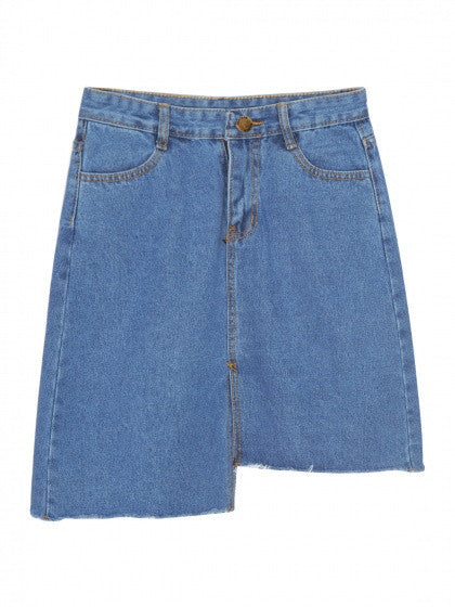 Blue Light Wash Ripped Raw Hem Denim Mini Skirt