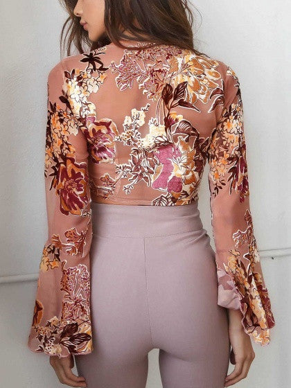 Polychrome Plunge Tie Front Floral Long Flared Sleeve Crop Top