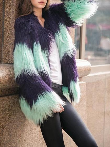 Color Block Collarless Open Front Longline Faux Fur Coat