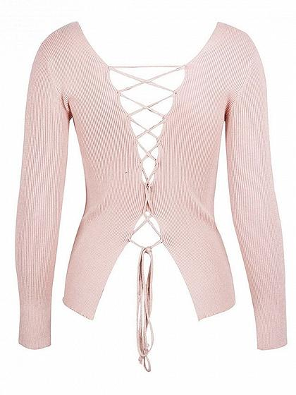 Pink V-neck Lace Up Back Long Sleeve Knitted Sweater