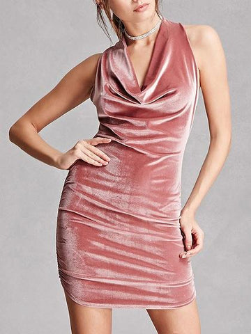 Pink Drape V-neck Cross Strap Open Back Velvet Bodycon Dress