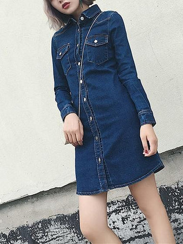 Blue Button Front Long Sleeve Denim Mini Shirt Dress