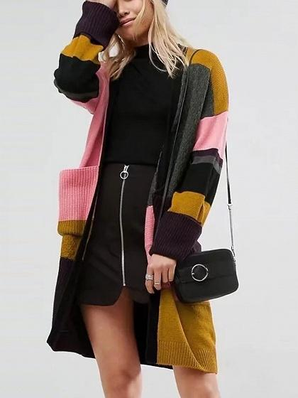 Color Block Open Front Long Sleeve Longline Knit Cardigan