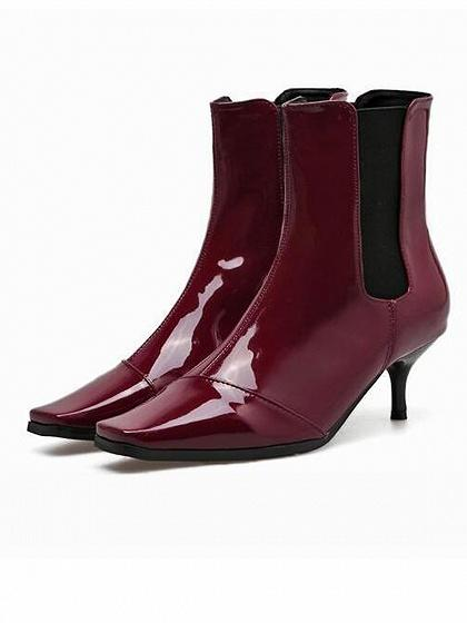 Burgundy Square Toe Heeled Ankle Boots
