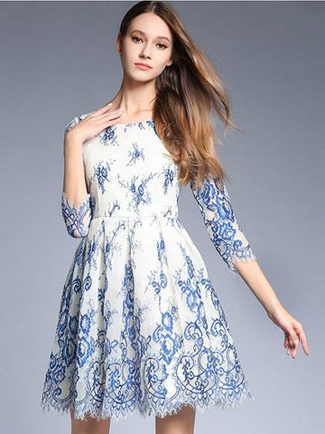 Blue 3/4 Sleeve Embroidery Lace Skater Mini Dress