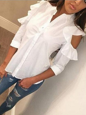 White Cold Shoulder Ruffle Detail Long Sleeve Shirt