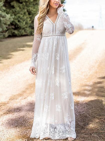 White V-neck Cut Out Long Sleeve Embroidery Lace Maxi Dress