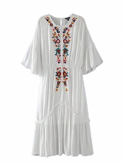 White Embroidery Floral Flare Sleeve Dress And Cami Lining