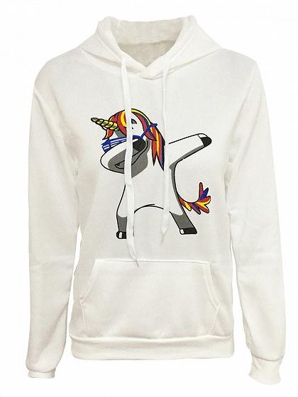 White Cartoon Print Long Sleeve Drawstring Hoodie