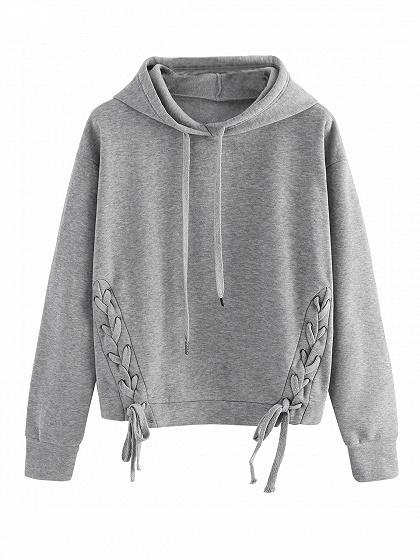 4904b1d8c05a0 Gray Lace Up Detail Long Sleeve Drawstring Hoodie – chiclookcloset