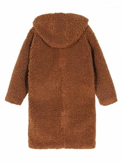 Brown Fluffy Longline Hooded Coat