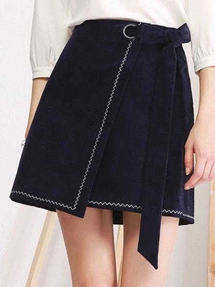 Royal Blue High Waist Tie Side Asymetric Hem Skirt