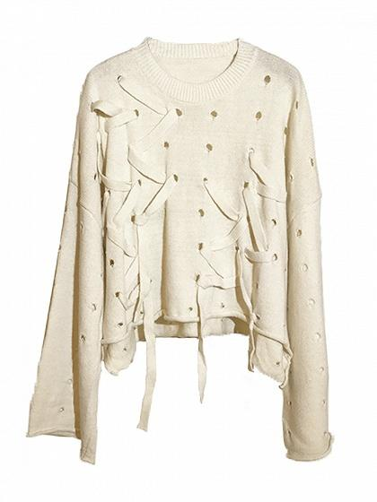Beige Lace Up Asymetric Hem Long Sleeve Knit Sweater