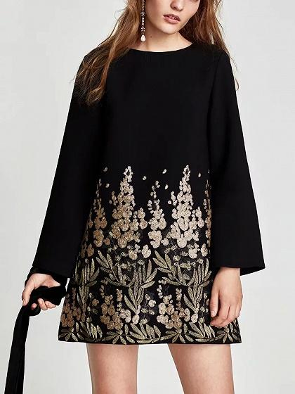 Black Sequin Embroidery Floral Long Sleeve Mini Dress