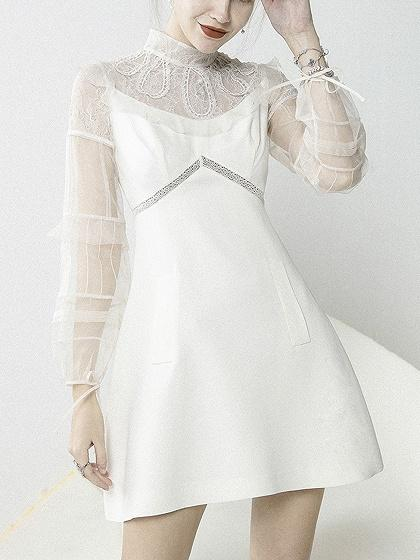 ca2183a311c White High Neck Sheer Mesh Panel Long Sleeve A-line Mini Dress