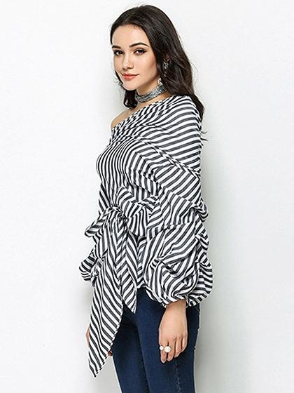 Monochrome Stripe One Shoulder Bow Tie Front Long Sleeve Blouse