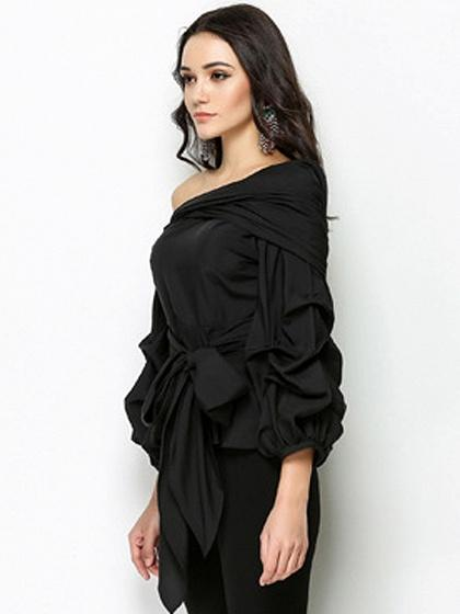 Black One Shoulder Bow Tie Front Long Sleeve Blouse