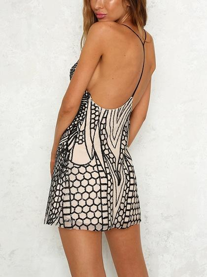 Black Plunge Open Back Sequin Detail Cami Mini Dress