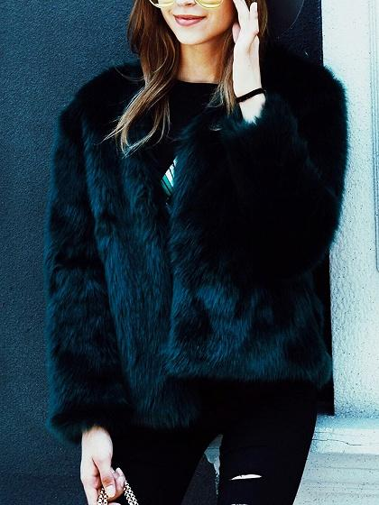 Black Collarless Open Front Faux Fur Coat