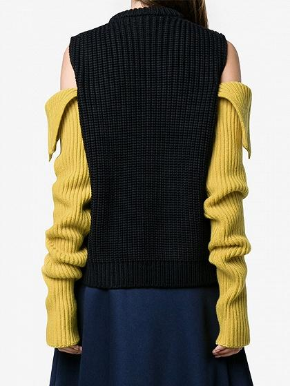 Black Cold Shoulder Contrast Sleeve Chunky Knit Sweater