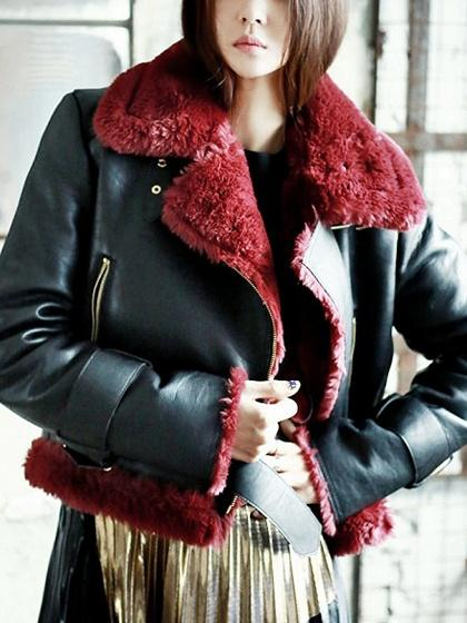 Black Faux Shearling  Lining Biker Jacket