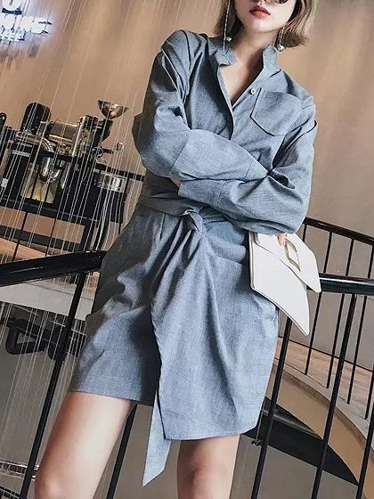 Gray Plaid Knot Front Tie Waist Asymmetric Hem Shirt Dress