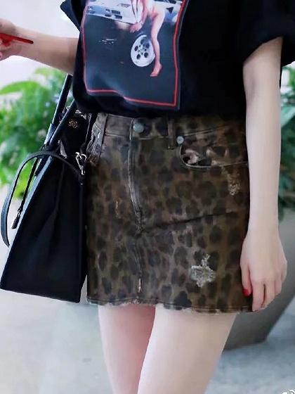 Leopard Print Mini Denim Skirt