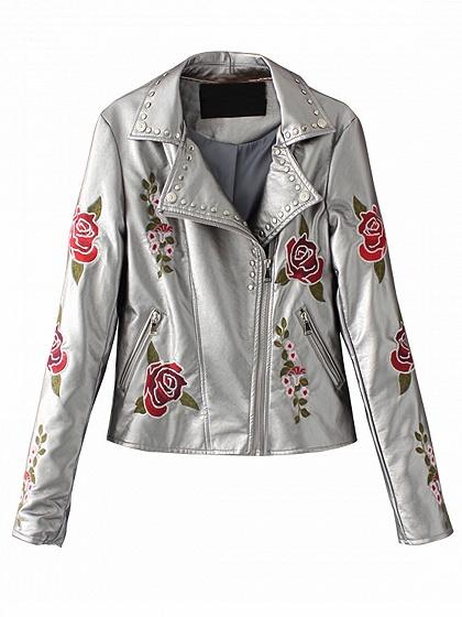 Gray Lapel Embroidery Floral Leather Look Biker Jacket