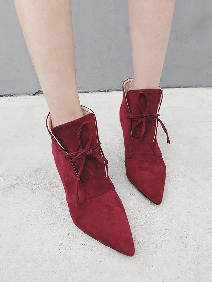 Burgundy Faux Suede Lace Up Pointed Ankle Boots