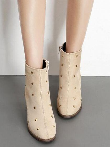 Beige Faux Suede Heart Stud Detail Ankle Boots