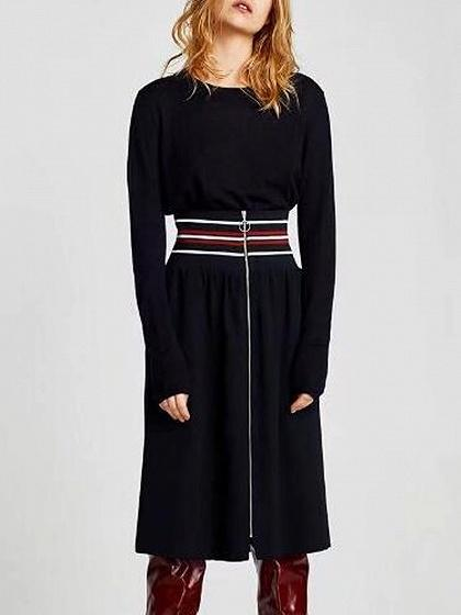 Black Stripe High Waist Zip Front Skirt