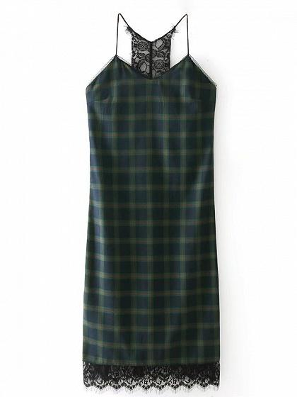 Green Gingham Spaghetti Strap Lace Panel Dress