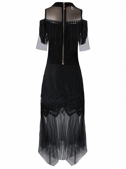 Black Sheer Mesh Tassel Detail Top And Asymmetric Hem Skirt
