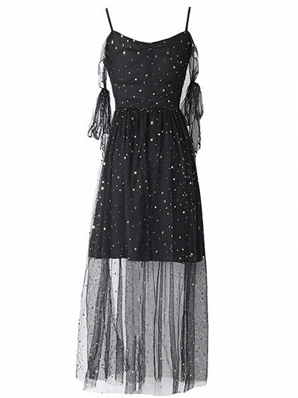 Black Spaghetti Strap Sequin Detail Sheer Mesh Dress