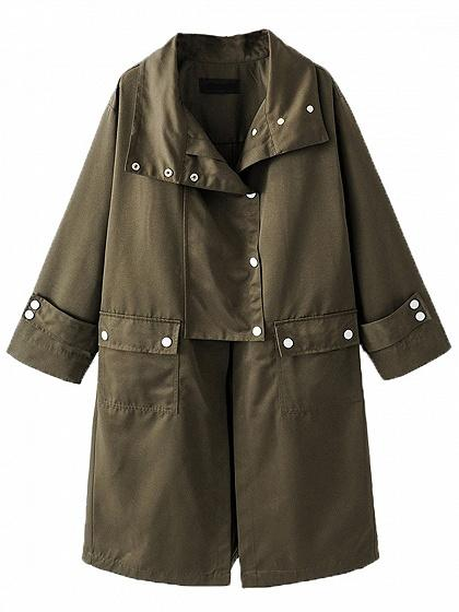 Army Green Lapel Button Detail Longline Trench Coat