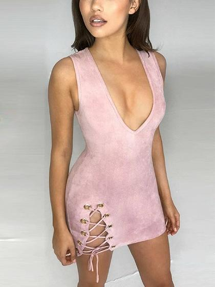 Pink Faux Suede Lace Up Side Bodycon Mini Dress