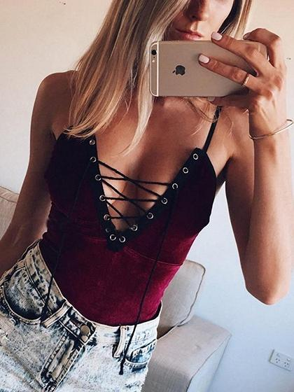 Burgundy Lace Up Front Velvet Bodysuit