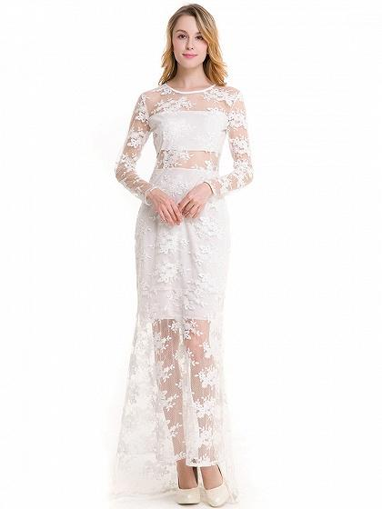 White Embroidery Long Sleeve Sheer Mesh Maxi Lace Dress
