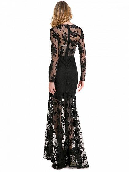 Black Embroidery Long Sleeve Sheer Mesh Maxi Lace Dress