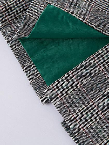 Gray Plaid Lapel Detail Double-breasted Longline Coat
