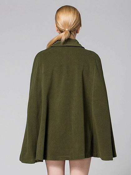 Army Green Zip Front Poncho Coat