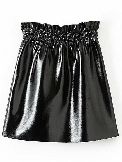 Black High Waist Ruched Detail Leather Look Mini Skirt