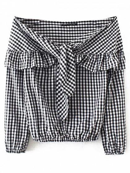 Monochrome Plaid Off Shoulder Tie Front Ruffle Detail Blouse